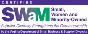 SWaM Logo - Purple and green logo with sans-serif type