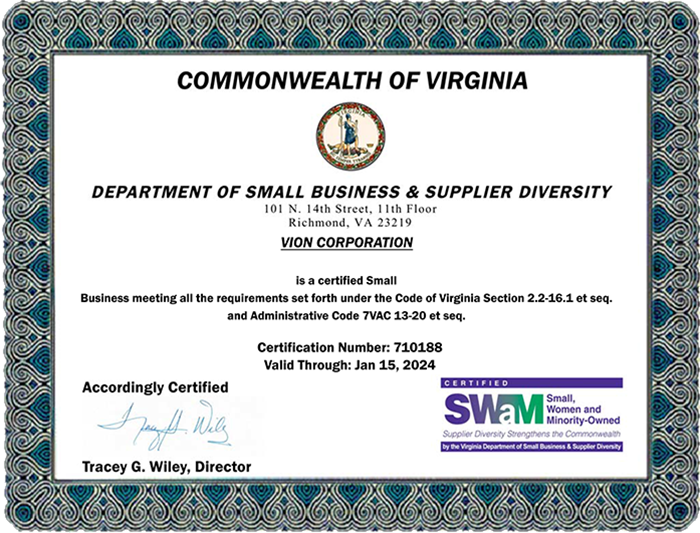 Scan of ViON Corporation SWaM Certificate