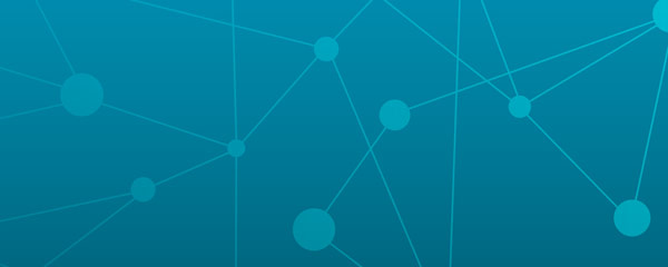 Turquoise gradient background with dots connected by lines