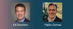 Headshots of Ed Stockton and Pablo Gomez over blue-purple gradient