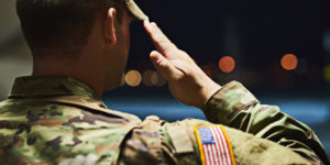 United States soldier saluting
