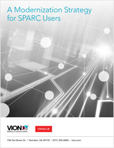 Modernization Strategy for SPARC Users Cover - Black and white photo with turquoise sans-serif type and ViON logo