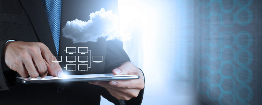Man using tablet with data structure and cloud hovering above