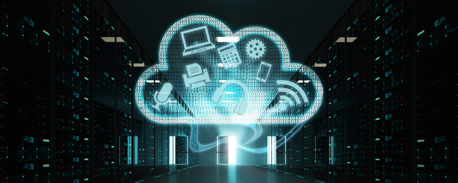 Data center with illustrated cloud and icons overlaying