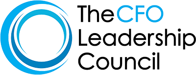 CFO Leadership Council Logo - Black and light blue sans-serif type with blue crescents to left