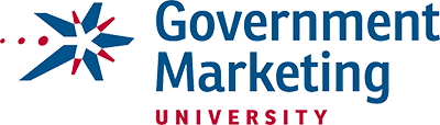 Government Marketing University Logo - Blue and red sans-serif type with starburst icon to left