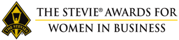 Stevie Award Logo - Black serif type with gold and black shield to left