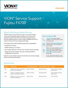 Cover of ViON Service Support for Fujitsu FX700 solution brief