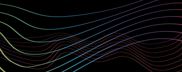 wavy lines in the color spectrum over black background